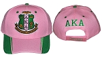 Alpha Kappa Alpha Embroidered Baseball Cap with Crest in Pink or Black