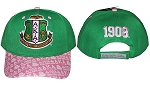 Alpha Kappa Alpha Embroidered Green and Pink Baseball Cap