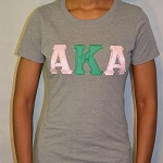 Alpha Kappa Alpha Tee with Green and Pink Embroidered Letters