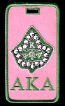 Alpha Kappa Alpha Embroidered Luggage Tag with Ivy