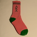 Alpha Kappa Alpha Socks Pink with Green Letters