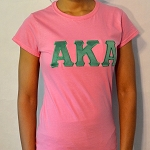 Alpha Kappa Alpha Pink Tee with Green Embroidered Letters