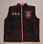Alpha Kappa Alpha Black and Pink Vest with embroidery