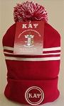 Kappa Beanie with Greek Letters and Pom Pom