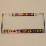 Omega Psi Phi  License Frame with Year and