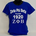Zeta Tee with Sorority Name - Greek Letters and Year