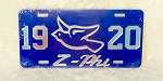 Zeta Mirrored License Plate/Tag with Z Phi