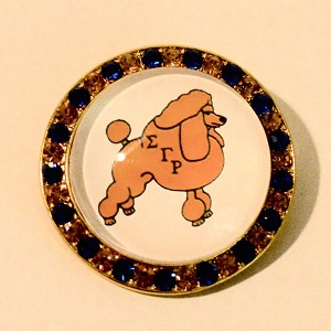 Sigma Gamma Rho Round Pin with Poodle