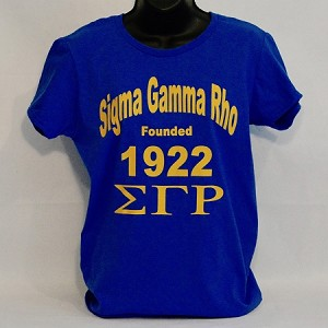 Sigma Gamma Rho Tee Shirt with Sorority Name - Letter and Year