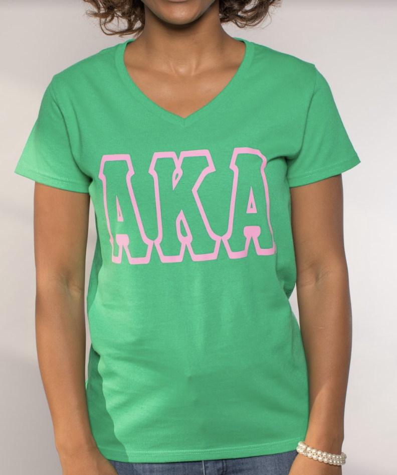 Alpha Kappa Alpha V-Neck Greek Letter Tee