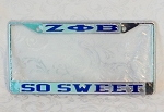 Zeta Phi Beta Mirrored License Frame with So Sweet