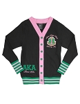 Alpha Kappa Alpha Lightweight Cardigan Black with Pink/Green Accents