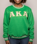 Alpha Kappa Alpha Embroidered Crew Neck - Grn
