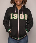 Alpha Kappa Alpha Zippered Hoodie - Black