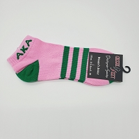 Alpha Kappa Alpha Pink Ankle Socks with Greek Letters