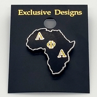 Alpha Phi Alpha Lapel Pin with Letters on Africa