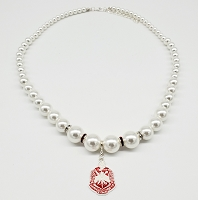 Delta Sigma Theta Pearl Necklace with Charm