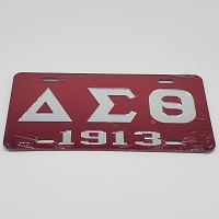 Delta Sigma Theta Auto Plate Letters and Year - Red