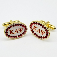 Kappa Alpha Psi Letter Cuff Links with Stones