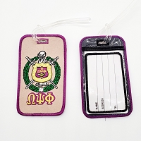 Omega Psi Phi Embroidered Luggage Tag with Crest