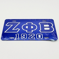 Zeta Phi Beta Mirrored License Plate with Letters and Year