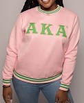 Alpha Kappa Alpha Embroidered Crew Neck - Pink
