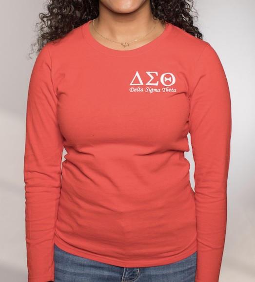 Delta Sigma Theta Embroidered Long Sleeve Tee
