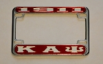 Kappa Alpha Psi Motorcycle License Frame with Greek Letters