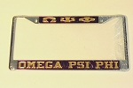Omega Psi Phi License Frame with Letters and Name
