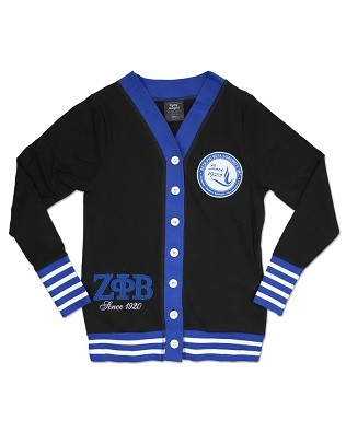 Zeta Phi Beta Lightweight Cardigan - Black with Blue with White Accents
