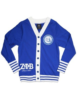 Zeta Phi Beta Lightweight Cardigan - Blue with White Accents