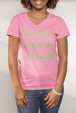 Alpha Kappa Alpha V-Neck Pink Tee W/Beautiful...