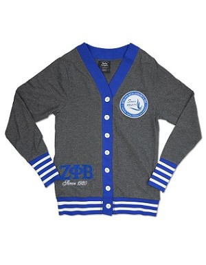 Zeta Phi Beta Lightweight Cardigan - Heather Grey